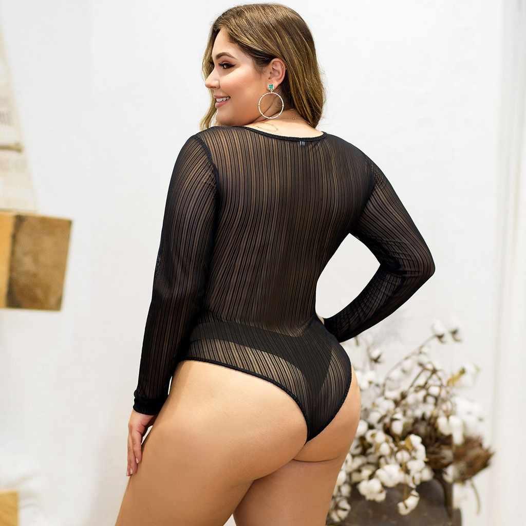 زائد حجم 4XL النساء الخريف الشتاء ارتداءها شبكة خياطة منظور السروال القصير كم طويل ضيق الجسم البرية بذلة نيسيس