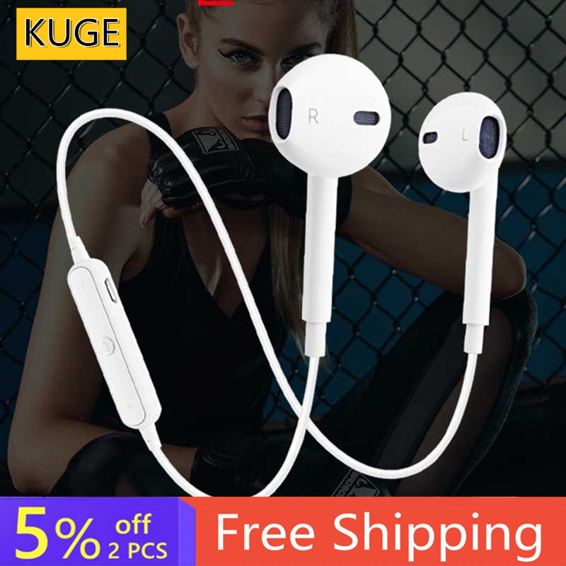 S6 Wireless Bluetooth Headset Sports Headphones 3D Stereo Built-In Microphone Stylish Bluetooth Headset Support A Variety Of App