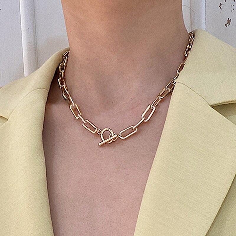 Женское колье-чокер с цепочкой, минималистичное ожерелье из смешанных цепочек, Золотистое Ожерелье с переключателем