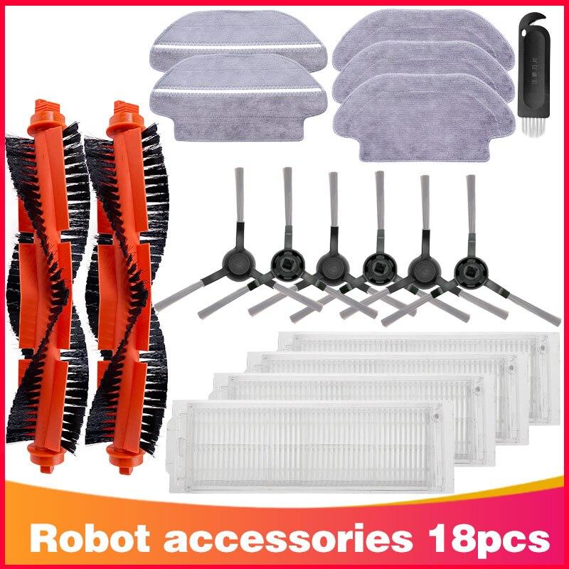 Lavável hepa filtro principal escova lado pano mop para xiaomi mijia styj02ym conga 3490 viomi v2 pro V-RVCLM21B robô aspirador de pó