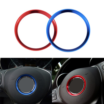 ESPEEDER Steering Wheel Center Decoration Cover Trim Car Interior 3D sticker For Mercedes 15+ C E CLA GLA GLE GLC Class Blue Red image