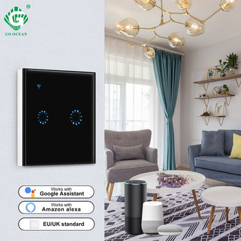 WIFI Light Smart Touch Switch 1 Gang 2 Gang 3 Gang 1 Way Voice Control Compatible with Amazon Google Wall Switch Timer Lamps kamanni wifi touch light switch google home control 2 gang 1 way black golden white grey 4 colors optional 1 2 3 gang 1 way 220v