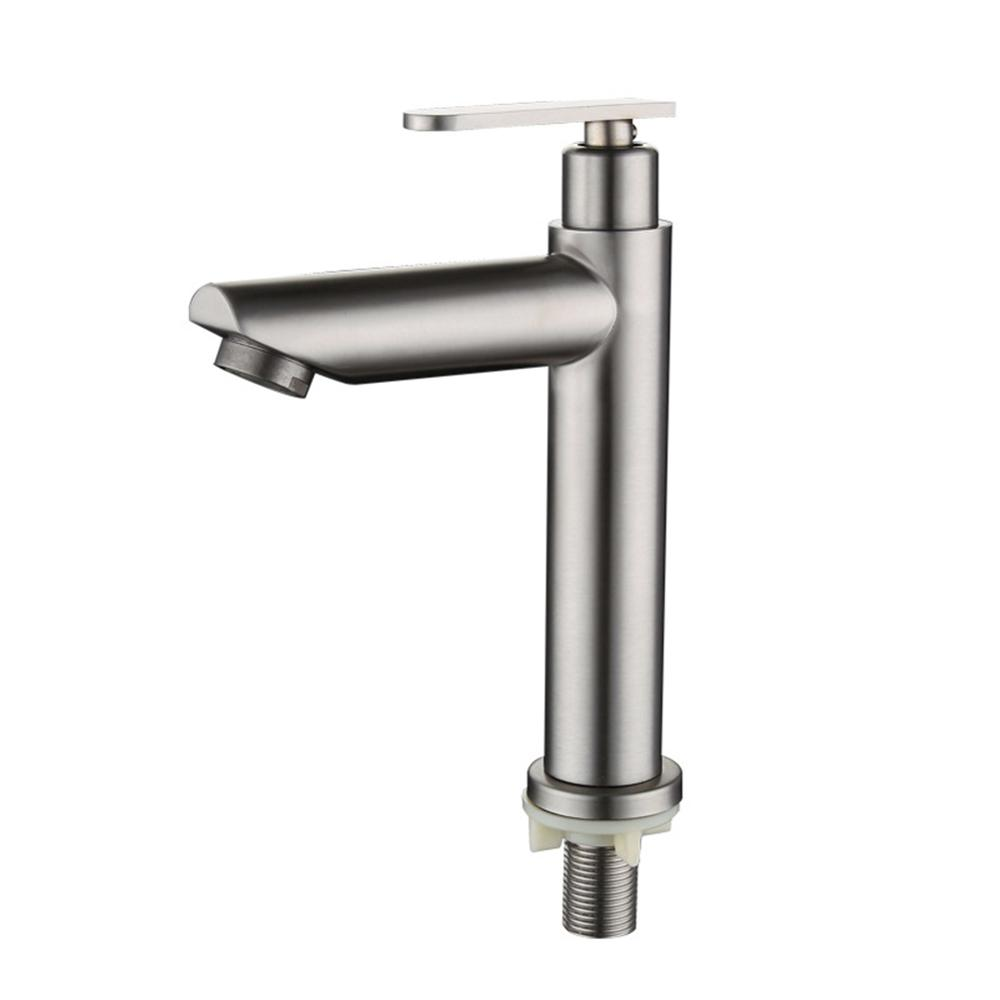 Kitchen Faucet Bathroom Basin Sink Faucet Single Handle Kitchen Tap Faucet Stainless steel single cold Drawing Finished