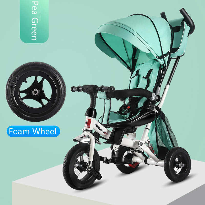 Child Tricycle Stroller Folding Three Wheels Stroller Bicycle Rotating Seat Baby Car Convertible Handle Free-inflation Wheels