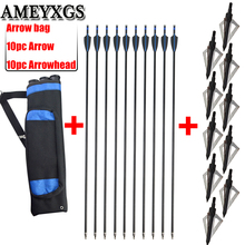 10pc Fiberglass Arrow With Broadhead Arrow And Arrow Quiver Bag Set Outdoor Hunting Shooting Bow And Arrow Archery Accessories 45 8 5cm arrow quiver oxford cloth arrow bag 2 point single shoulder for archery hunting shooting archery