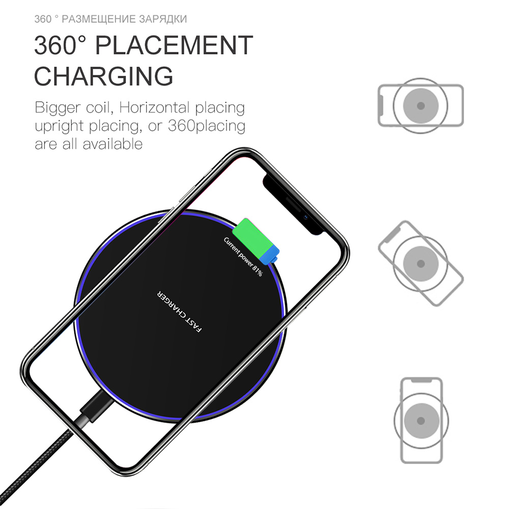 Image 4 - Baseuer 10W Wireless Charger LED Breathing Light Qi Fast Wireless Charging Pad For iPhone X XS 8 Samsung Huawei P30 Xiaomi-in Wireless Chargers from Cellphones & Telecommunications