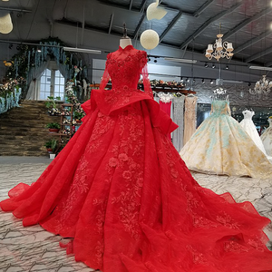 Image 3 - LS0993 red high neck brides wedding party dresses long tulle sleeve lace up back beauty cheap evening dress real price as photos