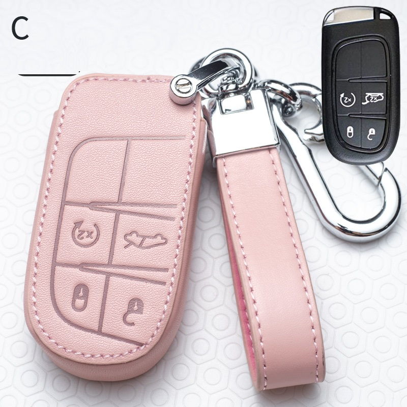 Leather Car Key Case Full Cover for Fiat Jeep for Dodge Ram 1500 Journey Charger Dart Challenger Durango Auto Accessories