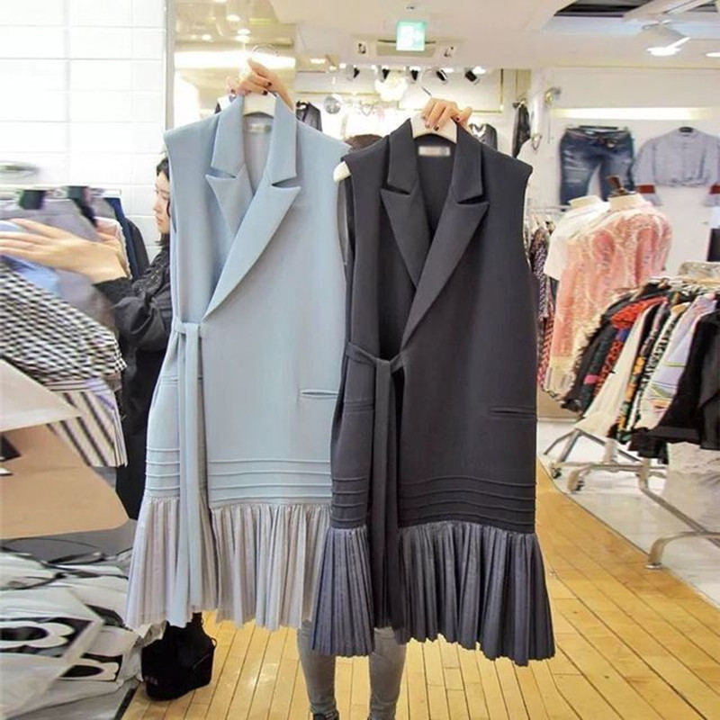 2020 Autumn Winter Long Sleeveless Jacket Coat Women Woolen Waistcoat Korea Lady Slim Pleated Vest With Belt Outwear Gilet Women Women's Clothings cb5feb1b7314637725a2e7: black|Blue