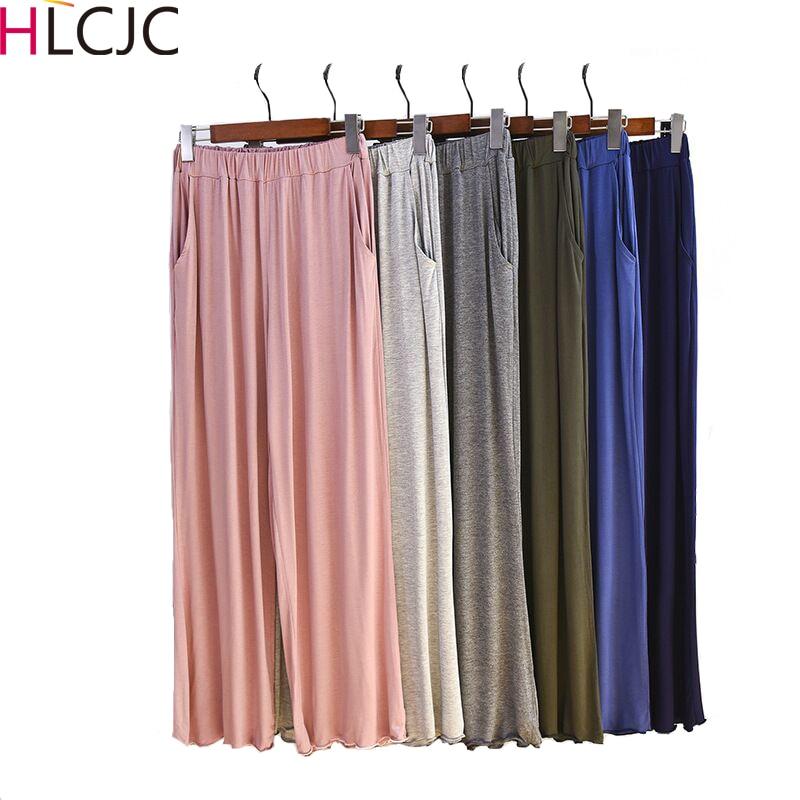 Autumn Winter New Women Sleep Pants Elastic Comfort Modal Home Pajama Pants Women Loose Plus Size Sleep Bottoms Wide Leg Pants
