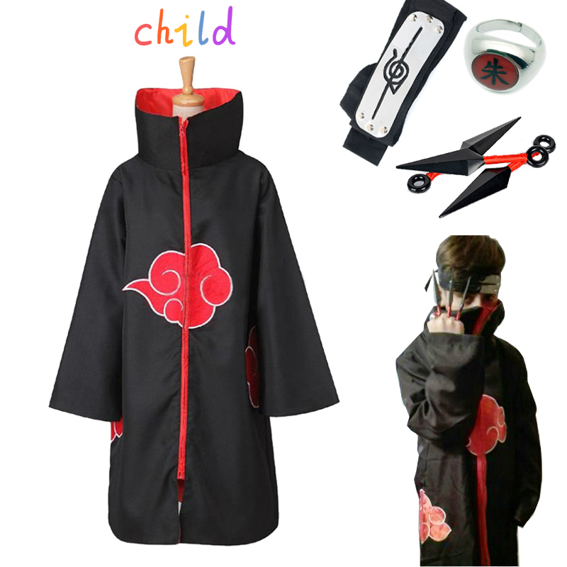 Anime NARUTO Akatsuki Uchiha Itachi Cosplay Cloak Costume Ring Kunai Suit Halloween Costumes For Kids Party Coat