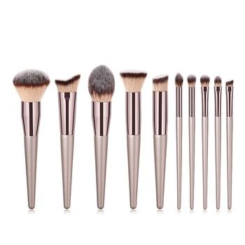 10pcs/set Champagne makeup brushes set for cosmetic foundation powder blush eyeshadow kabuki blending make up brush beauty tool недорого