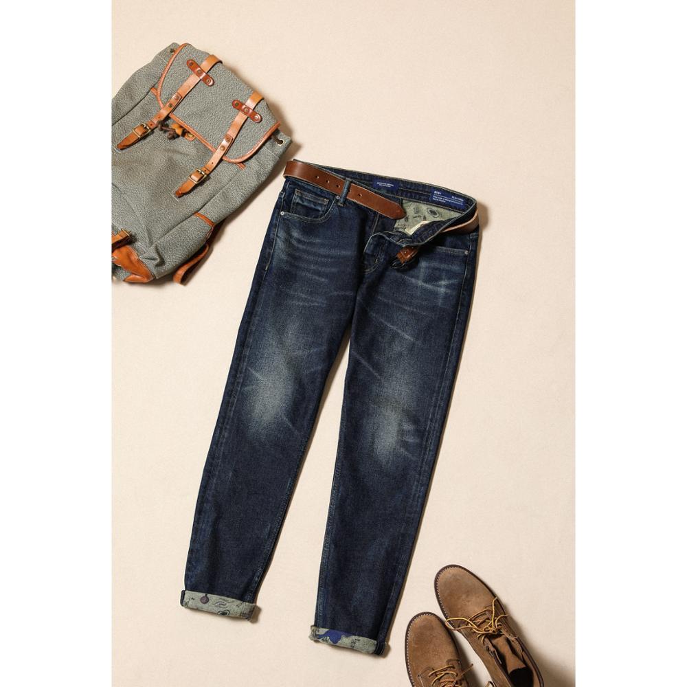 SIMWOOD 2019 Winter Print Fleece Inner Jeans Men Warm Slim Taper Denim Trousers High Quality Trousers Plus Size Brand Clothing