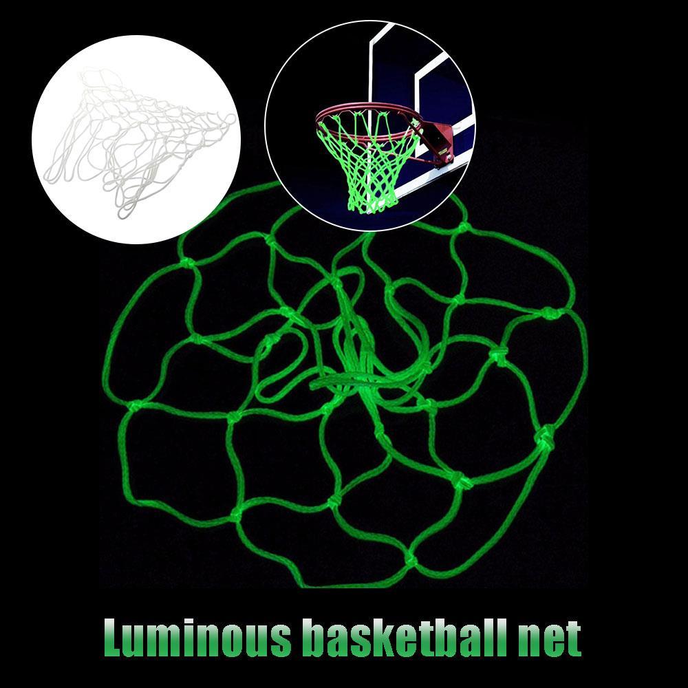Практичная баскетбольная сетка, белая Люминесцентная баскетбольная площадка, спортивная баскетбольная сетка на открытом воздухе, прочная нейлоновая сетка