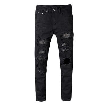 Fashion Streetwear Men Jeans Black Color Elastic Destroyed Ripped Jeans Men Punk Pants Patchwork Designer Hip Hop Skinny Jeans fashion designer men jeans black color slim fit elastic ripped jeans men destroyed leather patch streetwear hip hop jeans