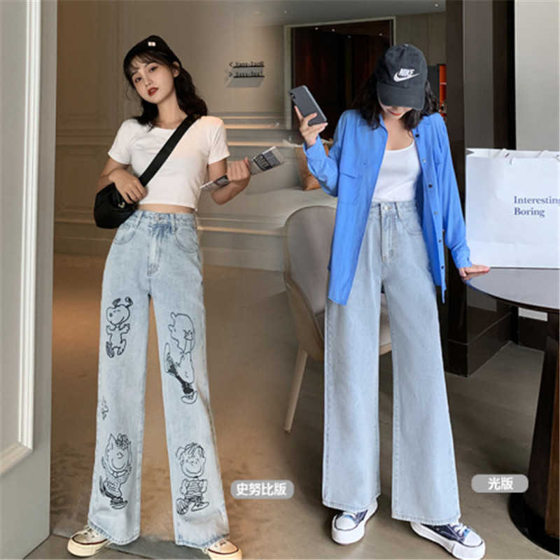 Snoopy Cartoon Print Broad-legged Pants Women High Waist Broad Legged Pants Loose And Slim Jeans Women Pantalon Jeans Hot Sale