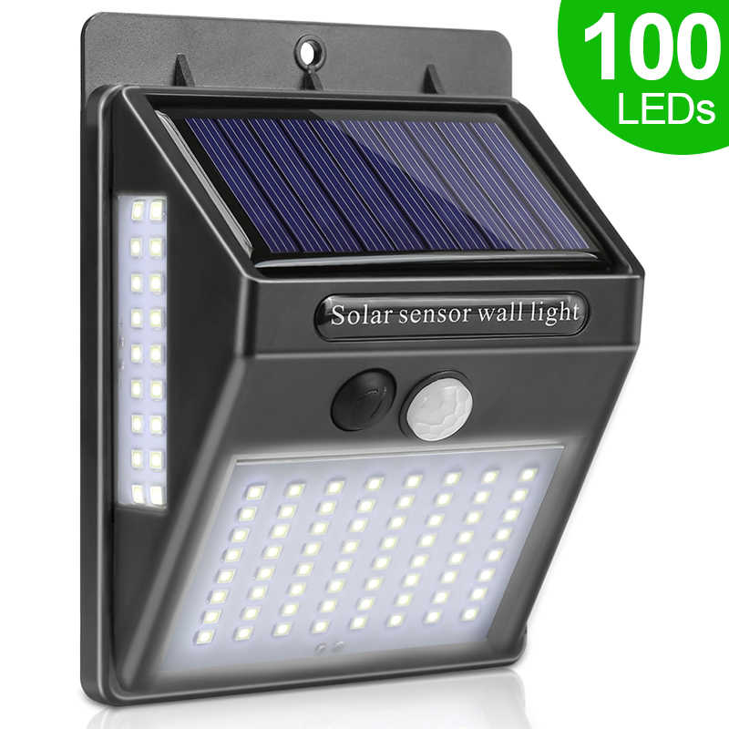 100 LED luz Solar lámpara Solar exterior PIR Sensor de movimiento luz de pared impermeable Solar Powered luz Solar para la decoración del jardín