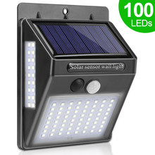 100 LED luz Solar lámpara Solar exterior PIR Sensor de movimiento luz de pared impermeable Solar Powered luz Solar para la decoración del jardín(China)