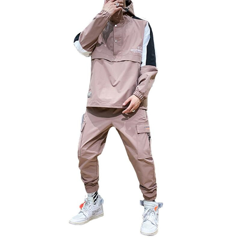 Men's Hooded Jacket+Pants 2PC Sets Mal Workwear Tide Card Loose Pullover Front Pocket Coat& Long Pants Mal Clothing 2019 M-4XL