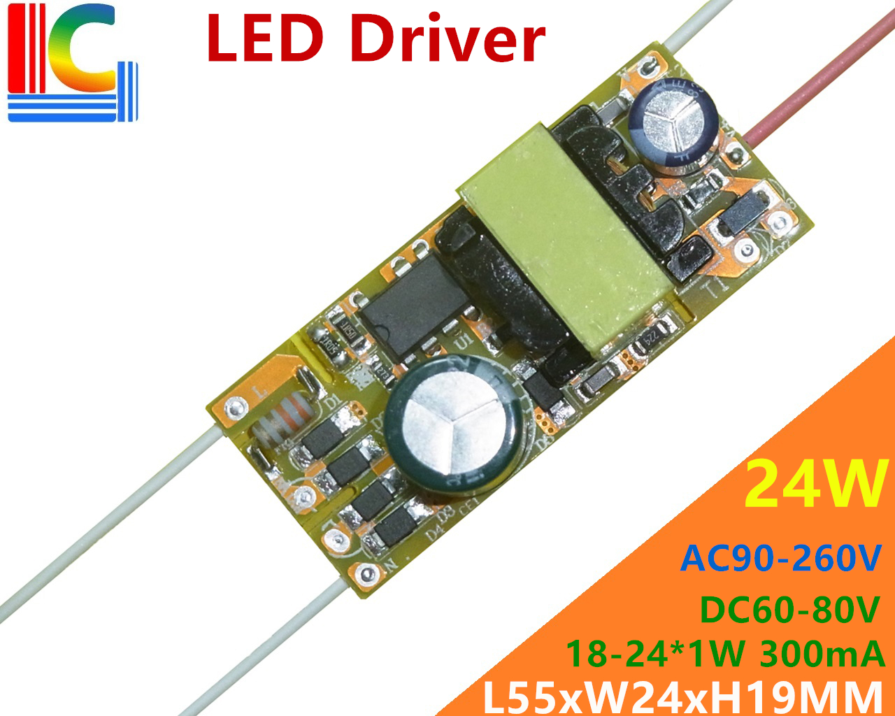 18W 20W 22W 24W Led Driver 300mA 350mA 400mA 500mA 550mA 650mA 700mA Power Supply 85-265VAC To 30-80VDC Lighting Transformer DIY