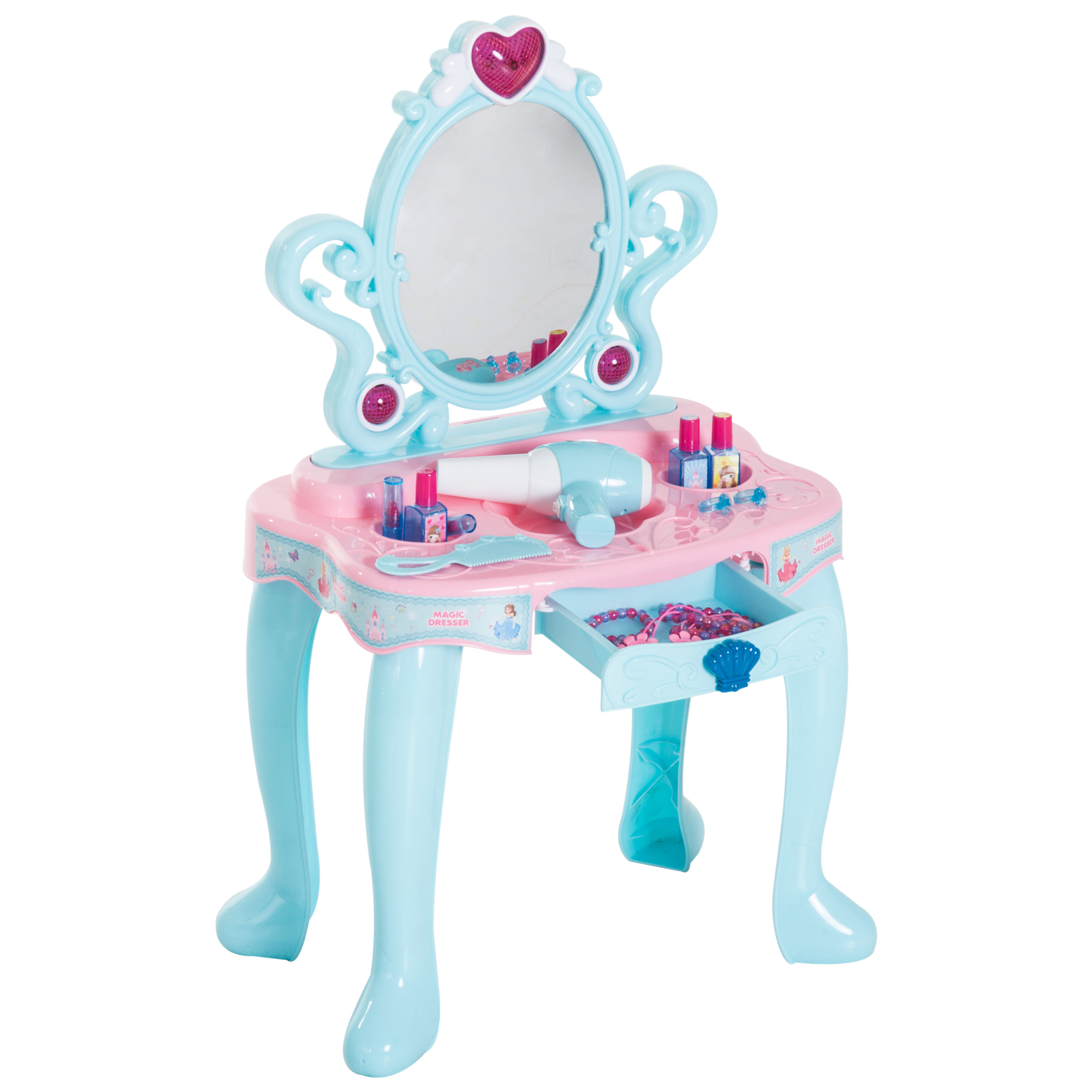 HOMCOM Table Makeup Girl Dressing Table Toy Accessories, Music, Lights PP Plastic Green Pink