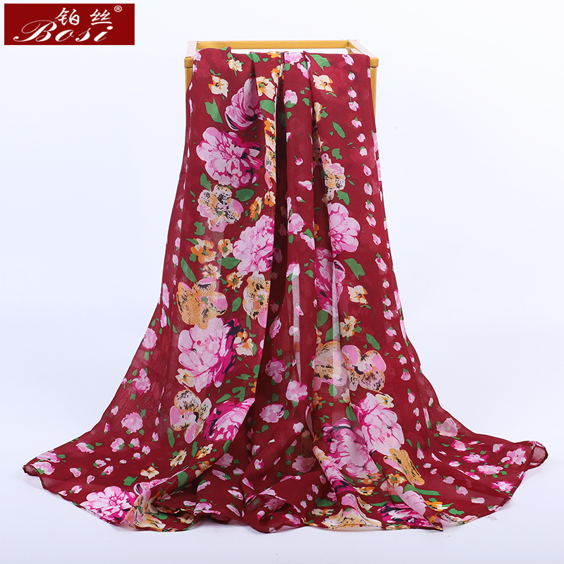 New Bohemian Scarf Fashion Long Chiffon Scarf Flowers Print 2020 Women Luxury Brand Multicolor Ladies Hijab Shawl Red Scarves