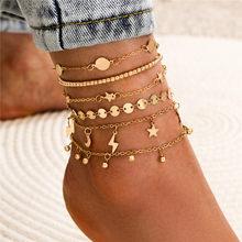 6Pcs/Set Vintage Boho Anklets Gold Color Link Chain Star Lightning Moon Beads Bracelets For Ankle Female Jewelry