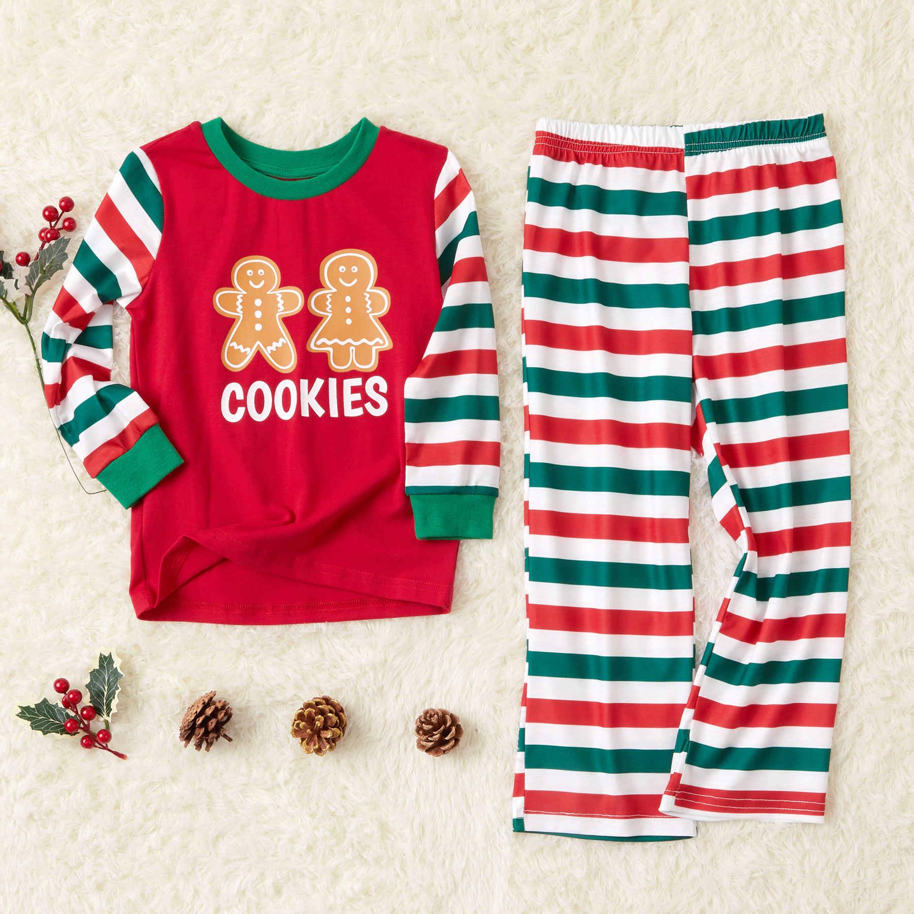 Pijama Rojo Navideño A Juego Con Pan De Jengibre Algodón Invierno Rayas Dibujo Animado Galleta Hombre Ocio Trajes Iguales De Familia Aliexpress