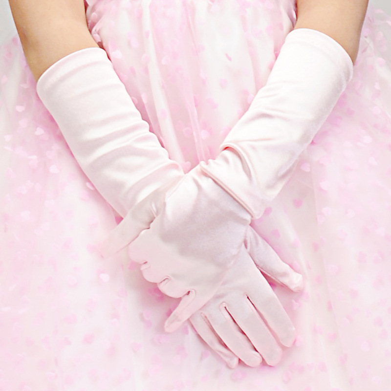 Pink Princess Dress-Up Gloves Shiny Silky Satin Flower Girl Long Gloves For Costume Party Wedding Formal Pageant ST308