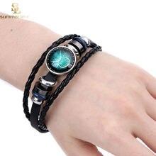 Новый 12 созвездий браслет со знаком зодиака плетеные кожаные