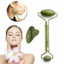 Green Facial Massage Roller Double Heads Jade Stone Face Lift Hands Body Skin Relaxation Slimming
