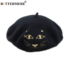 BUTTERMERE Female Beret 100% Wool Cat Embroidery French Women Japanese Kawaii Autumn Winter Black Burgundy Painter Hat