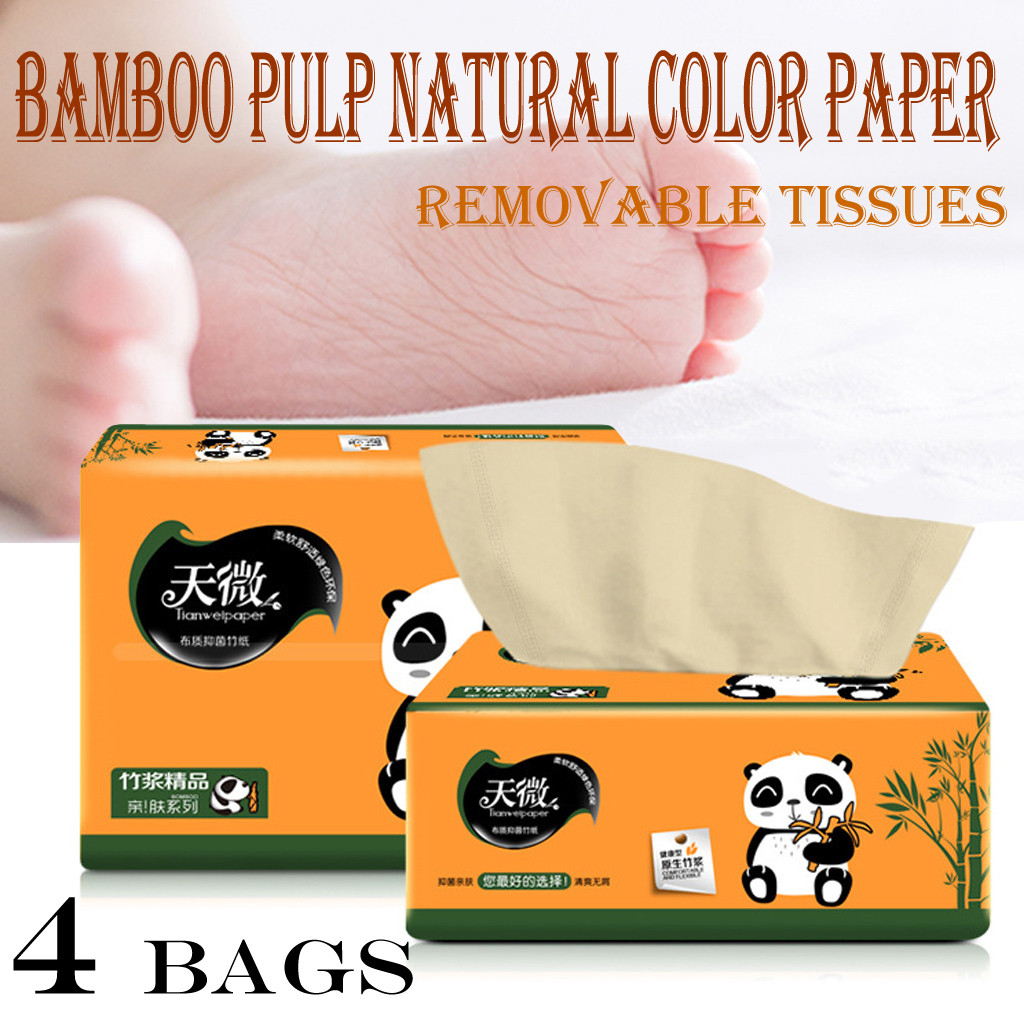 Home Pumping Paper High Quanlity 4 Packs Available For Mother And Babies Bamboo Pulp Clean Household Toilet Paper #3