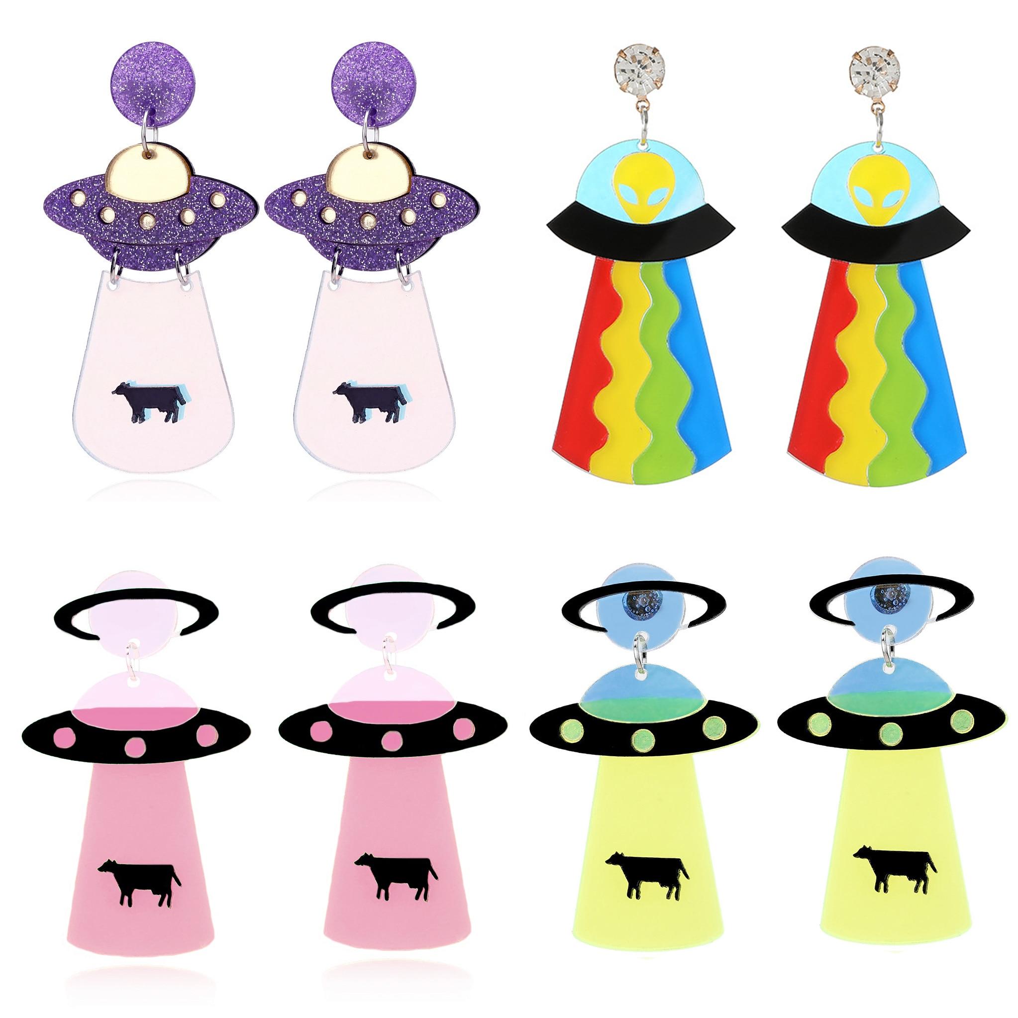 Серьги для женщин, серьги, модные ювелирные изделия, браслеты с подвесками преувеличенный в стиле «хип-хоп» для девочек; Красивое НЛО шутник...