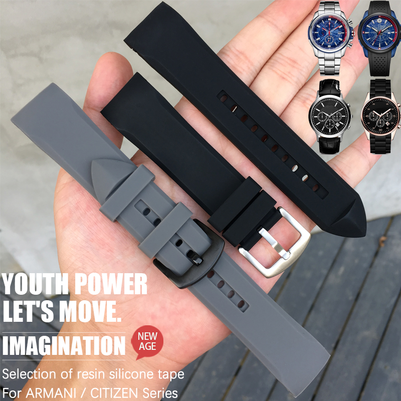 23mm Runner Silicone Watch Strap Needle Buckle Watch Band Suitable For Armani Model AR5985 AR5977AR5987 AR5978 Citizen Watch
