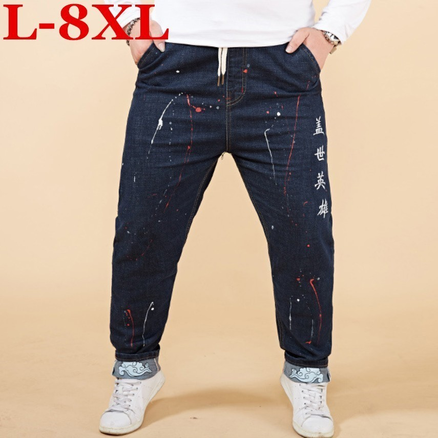 New 8XL 7XL 6XL 5XL  Mens Big And Tall High Stretch Plus Size High Quality  Jeans  Denim Business Relax Trousers Pants Dark Blue