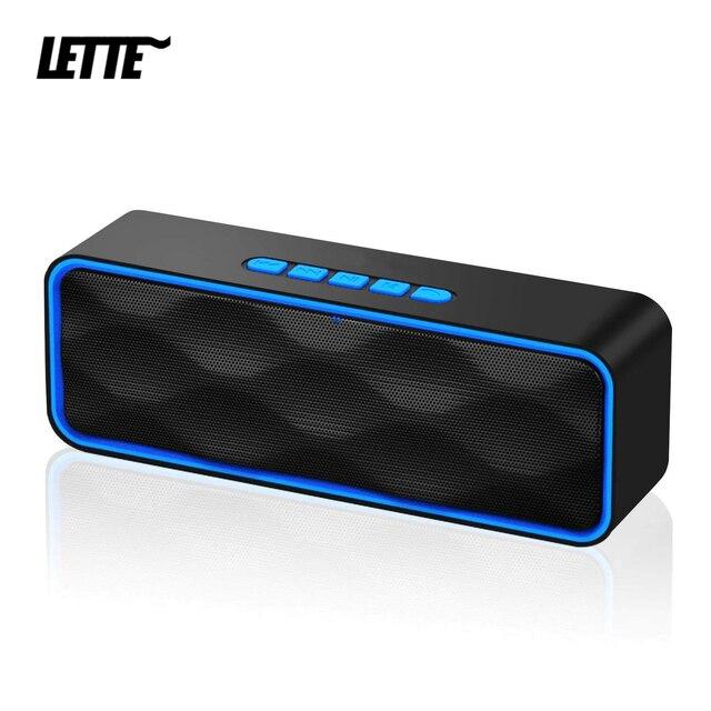 Loa Không Dây Bluetooth 5.0 Đèn LED Cổng USB Thẻ TF Phát Lại Đôi Sừng Loa Siêu Trầm TWS Không Dây AUX Đầu Vào Cột