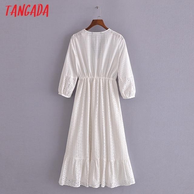 Tangada 2021 Summer Women White Embroidery Romantic Dress V Neck Short Sleeve Ladies Midi Dress Vestidos  3H184 5