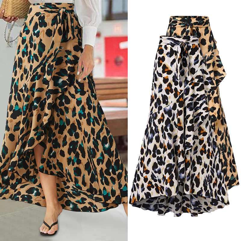 Skirts Asymmetric Celmia Split Leopard Print Ruffles Bohemian High-Waist Women Elegant