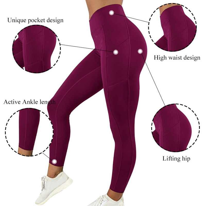 Seksi Kebugaran Wanita Gym Legging Push Up High Waist Saku Latihan Slim Leggins Fashion Kasual Mujer Pensil Celana
