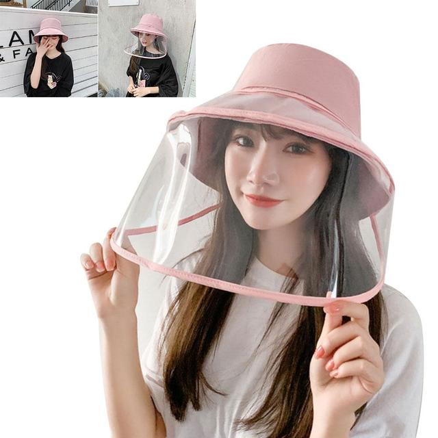 Protection Hat Hat with Face Shield Safety Anti-Saliva Anti-Fog PU Transparent Removable Lightweight Comfortable Breathable 2