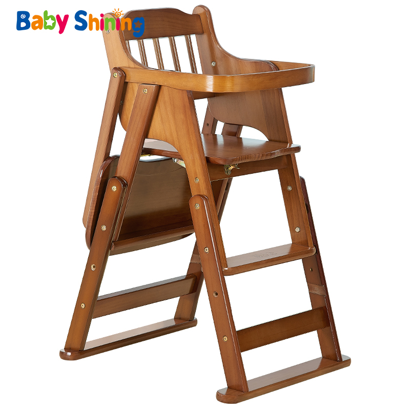 Baby Shining Multifunction Solid Wood Dining Chair Table 7M-10Y Portable Foldable Baby Feed Chair Height Adjustable Highchair