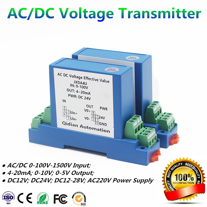 DC/AC Voltage Transmitter 1V/5V/10V/50V/100V/200V/300V/500V/1000V High Volatge Transducer Factory Supply Voltage Sensor