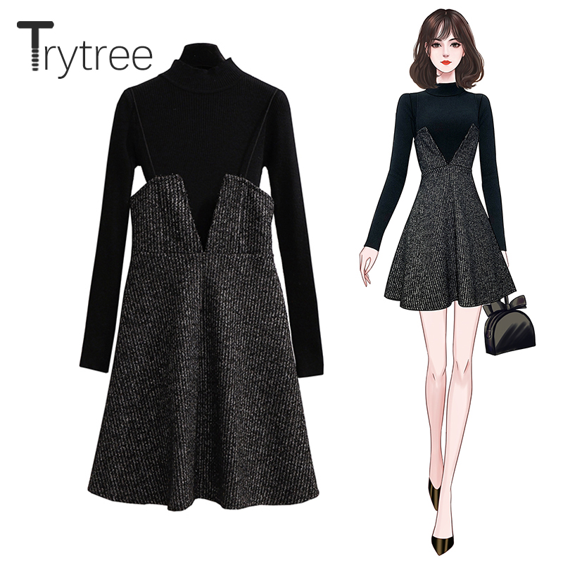 Trytree 2019 Autumn Winter Two Piece Set Casual Turtleneck Sweater Knitting Top + Sling Dress Mini Loose A-line Set 2 Piece Set