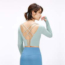 With Chest Pad Hollow Back Shirts Long Sleeve Yoga Training Clothes Professional Sports Wear For Women Gym Fitness Top Female long sleeve top with cross back