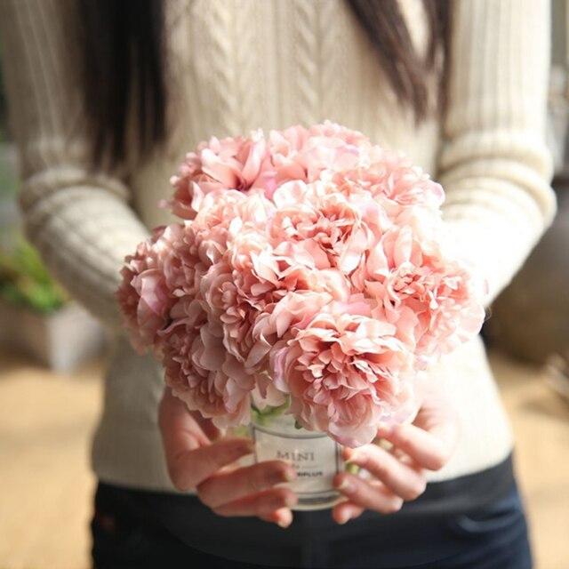 Simulación de peonía flores artificiales decoración para fiesta de boda ramo para el hogar pegatina de flores artificiales Decoración
