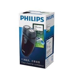 Image 5 - 100% 정품 필립스 전기 면도기 PQ206 두 개의 플로팅 헤드 AA 배터리 얼굴 윤곽 추적 남성용 전기 면도기