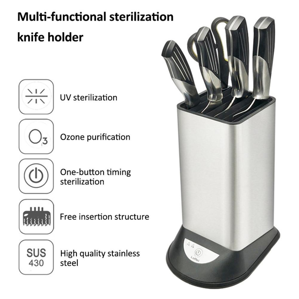 8 Holes Stainless Steel Cutter Holder USB Charging Sterilizer Cutter Organizer For Cutter Stand Kitchen Special Tools 30E