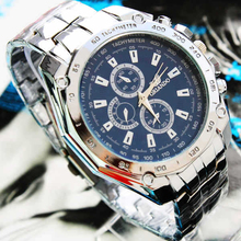 ORLANDO Men Watches Men Sports Watches Fashion Blue Dial Quartz Wristwatches Stainless Steel Mens Watches relogio masculino cheap WOONUN Fashion Casual Bracelet Clasp No waterproof 26cm Glass 10mm 17mm ROUND No package men watches 147083 Shock Resistant