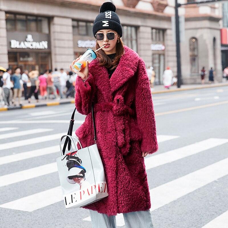 Luxury Natural Fur Coat Female Winter Long Sheep Shearing Jacket Women Real Fur Coat Vintage Double Faced Fur Jacket Hiver 99110